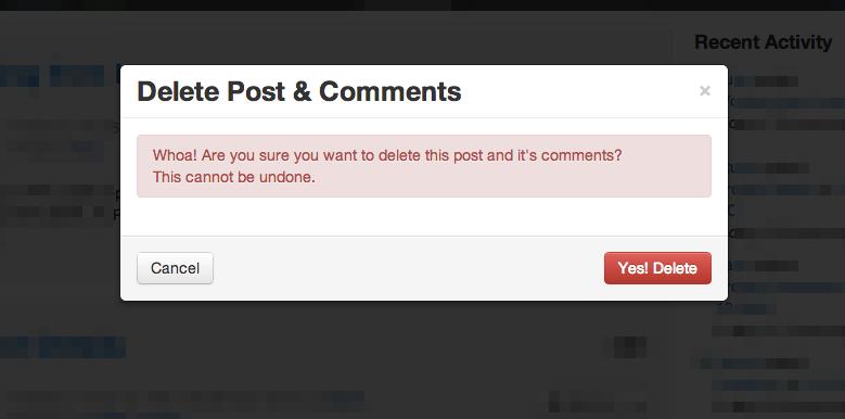 Hub Delete Post Modal