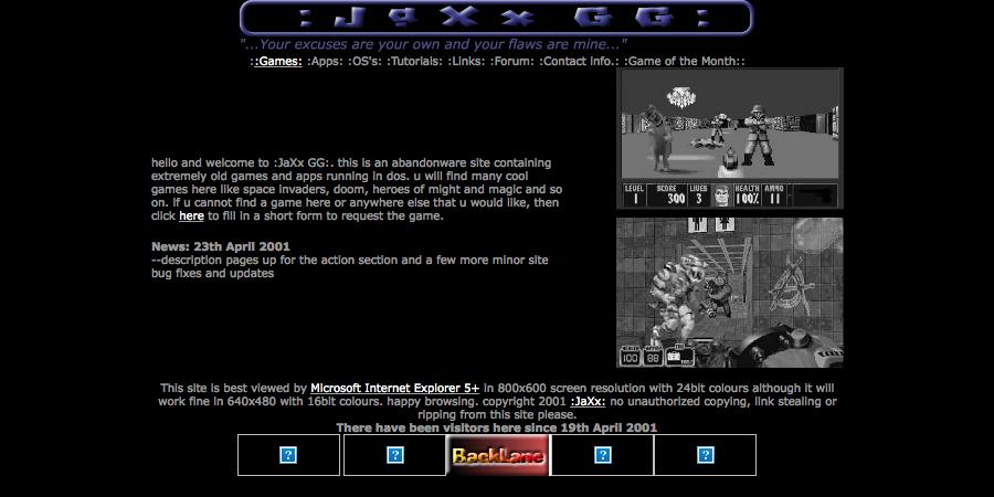 Jaxx Gaming Grove - 19/05/2001