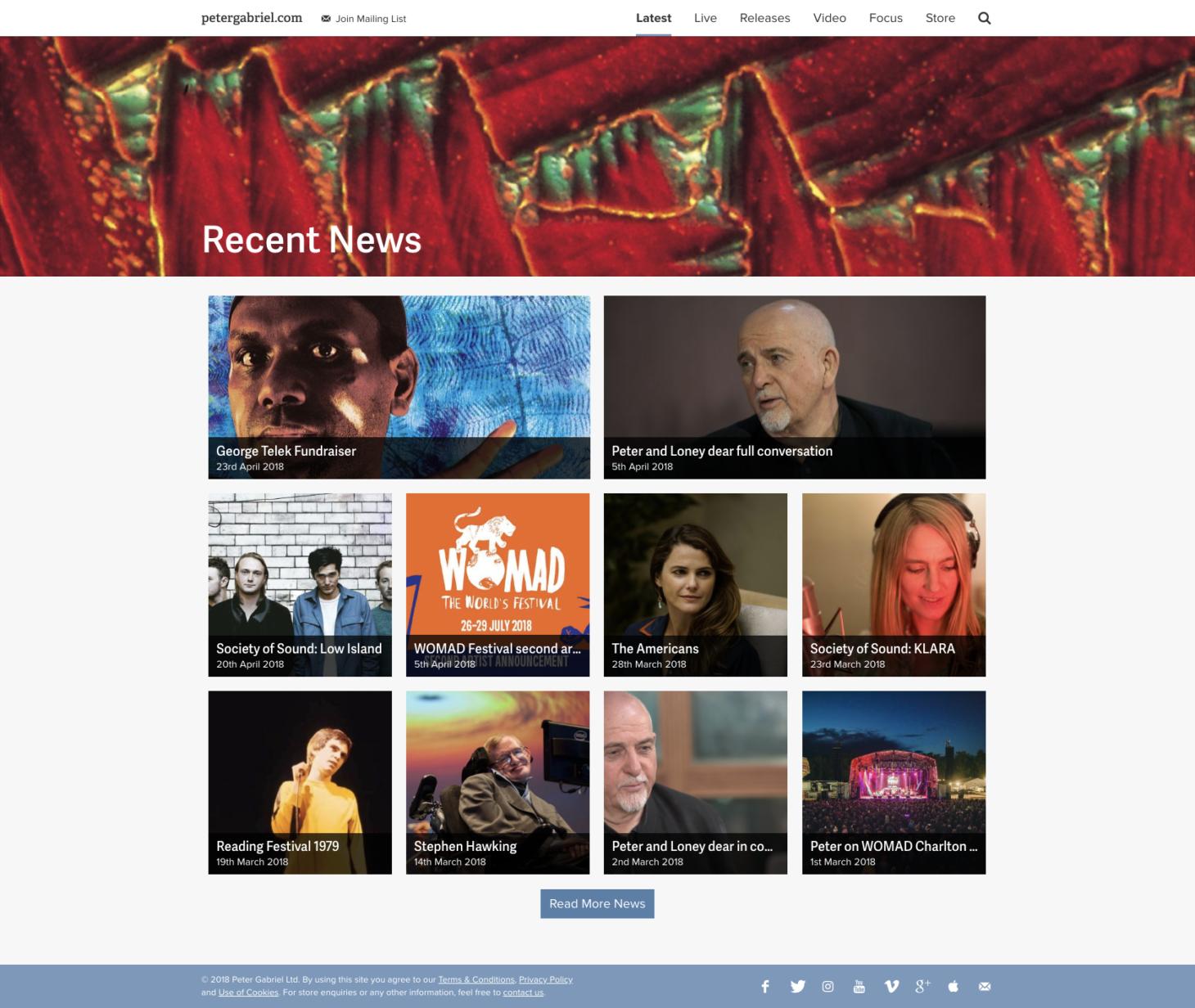 Peter Gabriel - Homepage