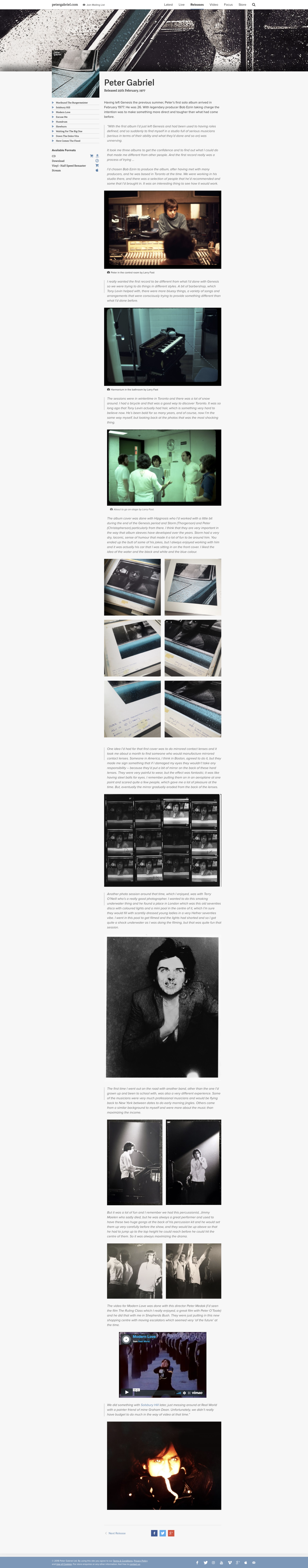Website design for Peter Gabriel's official site