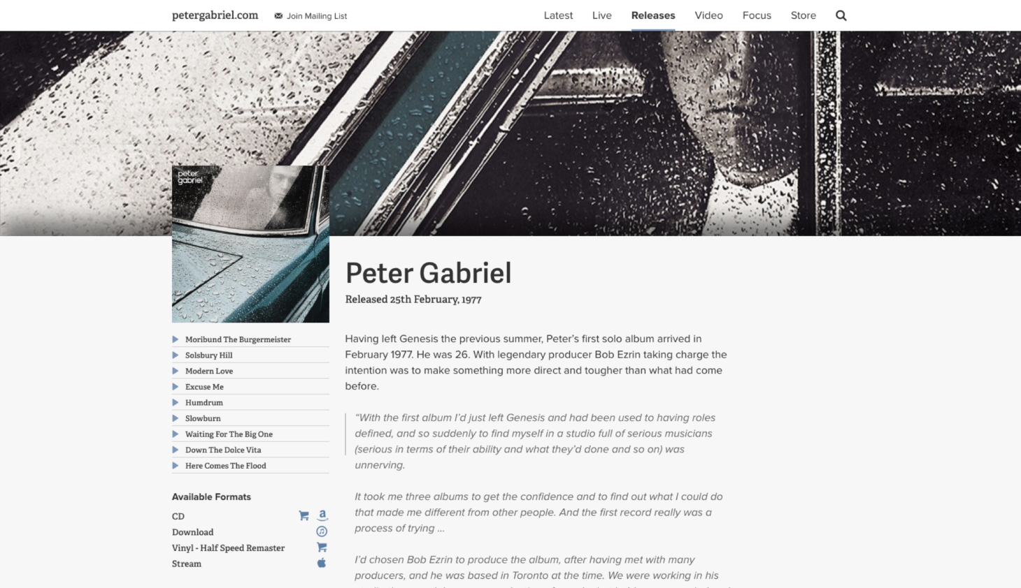 Website design for Peter Gabriel's official site